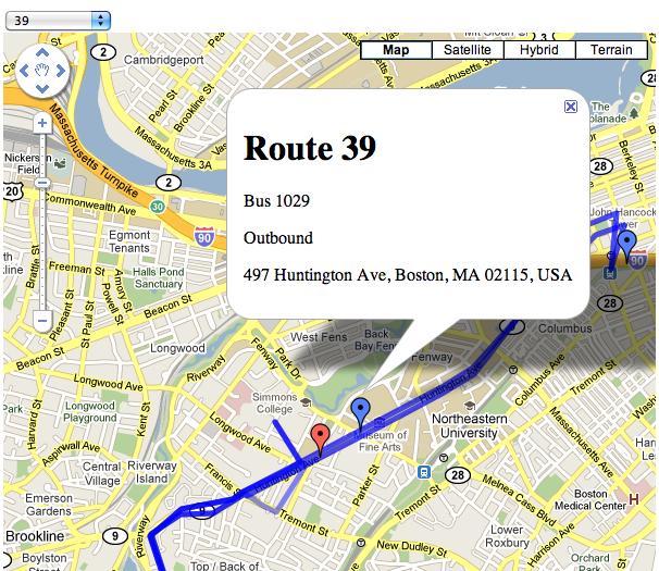 Realtime MBTA bus location Google Maps mashup joe shaw